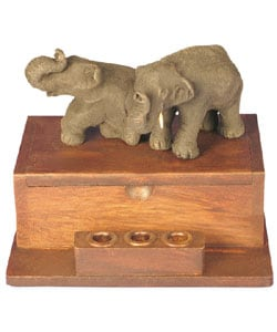 Two Elephants Business Card Holder