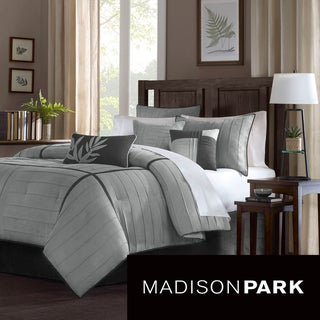 Madison Park Meyers Grey 7-piece Solid Casual Pattern Comforter Set