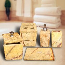 Marble Earthy Brown Bath Accessory 5-piece Set