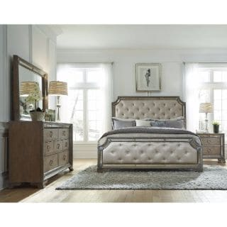 Celine 6 Piece Mirrored And Upholstered Tufted King Size Bedroom Set 15709232