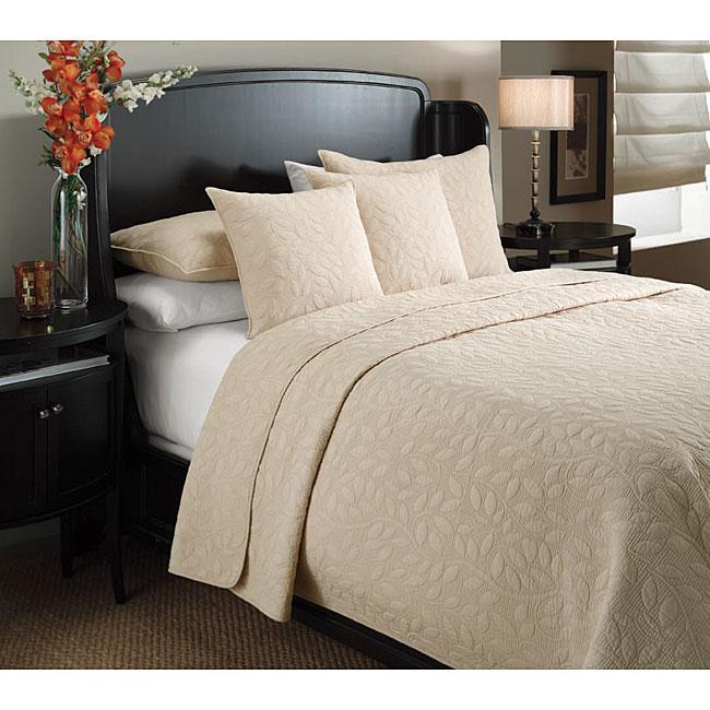 Marmont Sandalwood-beige Leaf-pattern Cotton-mix 3-piece Quilt Set