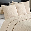 Marmont Sandalwood-beige Leaf-pattern Cotton-mix 3-piece Quilt Set
