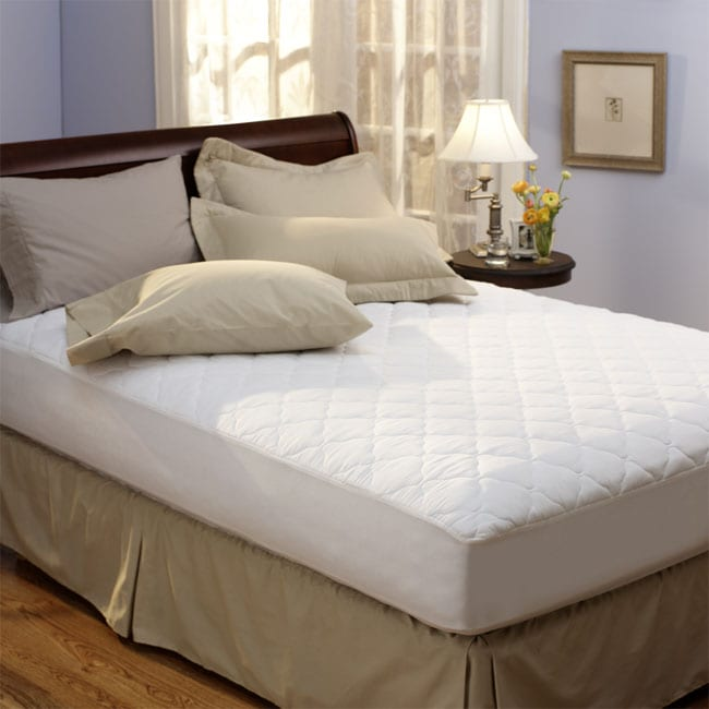 Classic 100 Percent Hypoallergenic Polyester Cotton Top Mattress Pad 955988