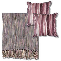 Mauve/ Grey Throw Blanket and Decorative Pillows