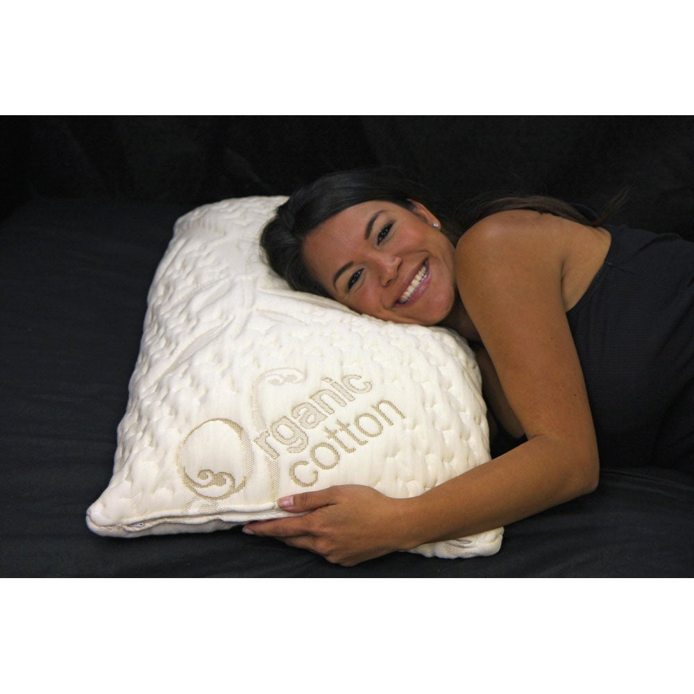 Ultra Plush Memory Foam Ventilated Pillow and Organic Cotton Cover Set