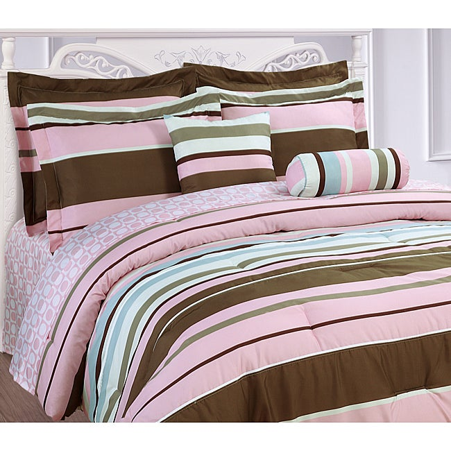 Microfiber Pink Stripe 3-piece Duvet Cover Set