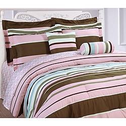 Microfiber Pink Stripe 3-piece Duvet Cover Set