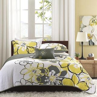 Mi Zone Mackenzie Yellow Grey Patterned Polyester 4 Piece