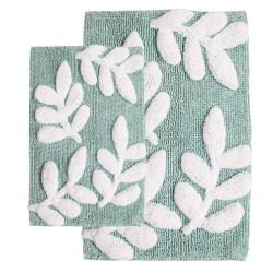 Monte Carlo Cotton Moonstone and White 2-Piece Bath Rug Set