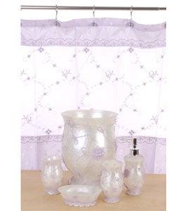botanical embroidery lavender bathroom accessories set