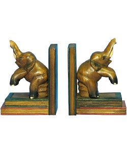 Pair of Hand-carved Elephant Bookends