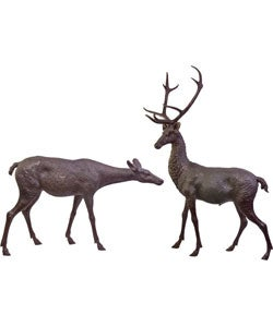 Set of Two Bronze Deer Statues
