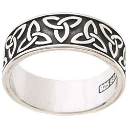 CGC Polished Silver Oxidized Celtic-knot/Trinity Band Ring
