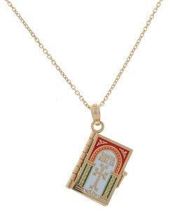 14k Gold Spanish Bible, Santa Biblia Religious Prayer Book Pendant