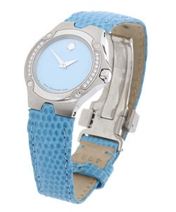 Movado Sports Edition Women's Blue Dial Leather Strap Diamond Watch