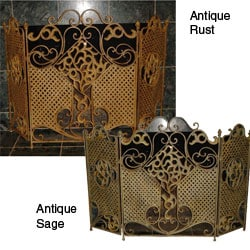 Iron Three-panel Fireplace Screen