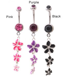 CGC Surgical Steel Enamel Flower Dangle Crystal Curved Barbell