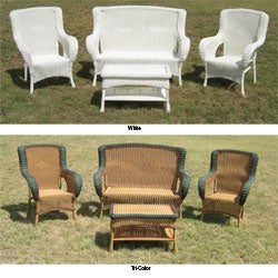 Four-piece Wicker Square-back Patio Set