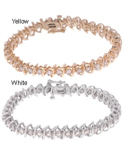 14k Gold 5ct Diamond Spiral Tennis Bracelet (J, I1)