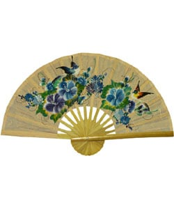 Birds and Flowers Large Decorative Fan