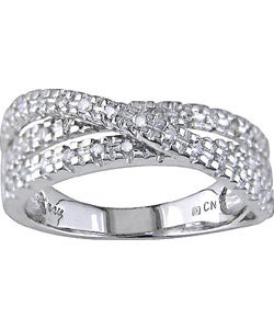 14k White Gold 1/4ct TDW Diamond Criss Cross Ring (J-K, I2-I3)