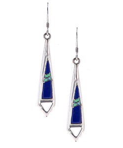 Sterling Silver Lapis and Opal Earrings