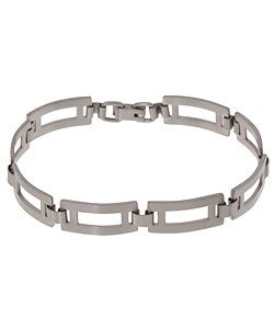Men's Stainless Steel Rectangular Link 8 inch 10 mm Bracelet
