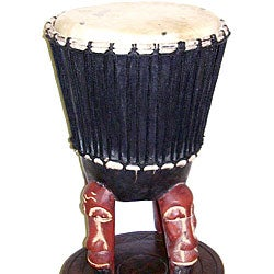 Sese Wood Djembe Mask Drum (Ghana)