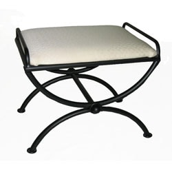 White Cushion Iron Vanity Stool | Overstock.com Shopping - Great