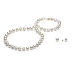 DaVonna 14k Gold White 8-9mm FW Pearl Necklace-Earring Set with Gift Box