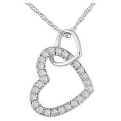Miadora 10k White Gold 1/4ct TW Diamond Double Heart Pendant