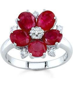 Kabella 18-kt. Gold Ruby 1/5 Ct. Diamond Flower Ring