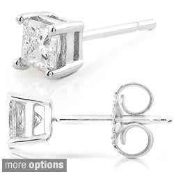 14k Gold 1/2ct TDW Princess-cut Traditional Diamond Stud Earrings