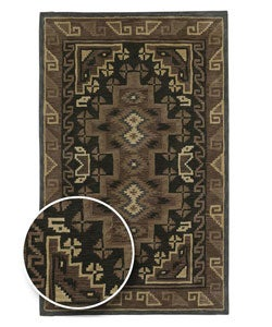 Hand-tufted Brown Southwestern Aztec Navaho New Zealand Wool Rug (5&#39; x 8&#39;)