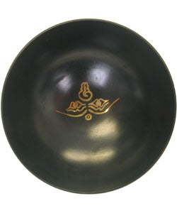 Small Black Gold-detailed Brass Singing Bowl with Stick (Nepal)