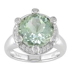 14-kt White Gold 1/5-ct Diamond & Green Amethyst Ring