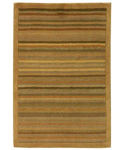 Safavieh Hand-knotted Stripes Apricot/ Sage Tibetan Wool Rug (2' x 3')