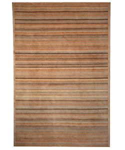 Hand-knotted Stripes Apricot/ Sage Tibetan Wool Rug (4' x 6')