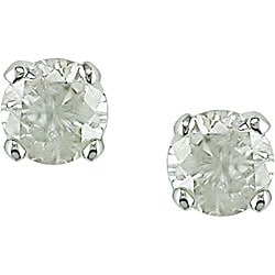 Miadora 14k Gold 1/4ct TDW Round Diamond Solitaire Screw Back Earrings (J-K, I2-I3)