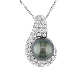 Miadora 14k Gold 1/4ct Diamond Cultured Black Tahitian Pearl Pendant