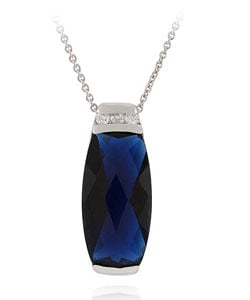 Icz Stonez Sterling Silver Blue and White CZ Pendant