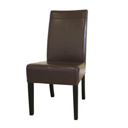 Dark Brown By-cast Leather Dining Chairs (Set of 2).