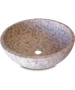 Fontaine Mosaic Travertine Cubes Bathroom Vessel Sink