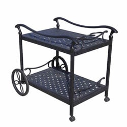 Cast Aluminum Rolling Tea Cart