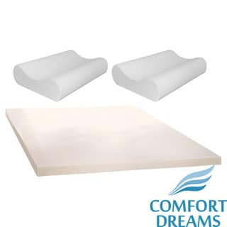 Comfort Dreams 4-inch Memory Foam Mattress Topper with Two Bonus Contour Pillows