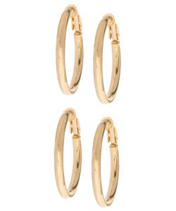 Mondevio 18k Gold over Sterling Silver Clip Hoop Earrings (Set of 2 Pairs)