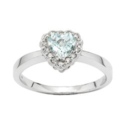 14k White Gold Diamond and Aquamarine Heart Ring