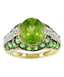 14k Yellow Gold Diamond and Peridot Ring