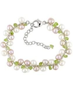 Silver Cultured Freshwater Pearl Peridot Bracelet