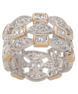 Icz Stonez Sterling Silver/18k Gold CZ Three-row Ring